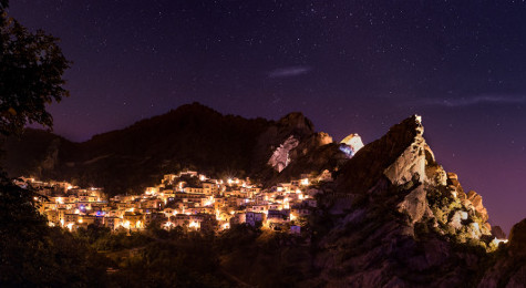 brightly lit small village in the night