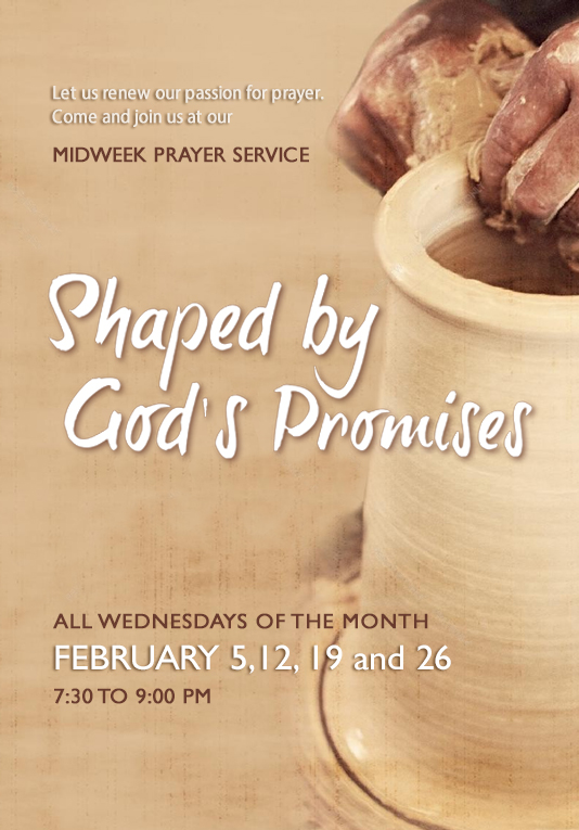 Higher Rock Christian Church Midweek Poster for Febuary 2020 - Shaped by God's Promises