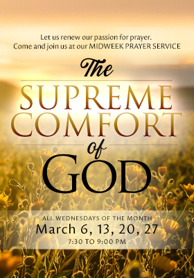 Higher Rock Christian Church Midweek Poster for March 2019 - The Supreme Comfort of God