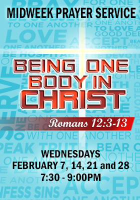 Higher Rock Christian Church Midweek Poster for February 2018 - Being One Body In Christ