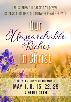 Higher Rock Christian Church Midweek Poster for May 2019 - Unsearchable Riches in Christ