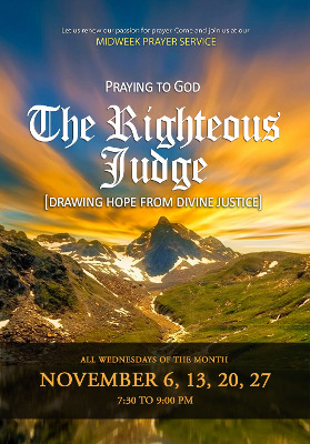 Higher Rock Christian Church Midweek Poster for November 2019 - The Righteous Judge