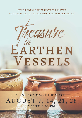 Higher Rock Christian Church Midweek Poster for August 2019 - Treasure in Earthen Vessels