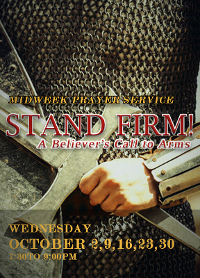 Higher Rock Christian Church Midweek Poster for October 2019 - Stand Firm - A Believer's Call to Arms
