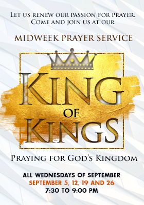Higher Rock Christian Church Midweek Poster for September 2018 - Praying for God's Kingdom