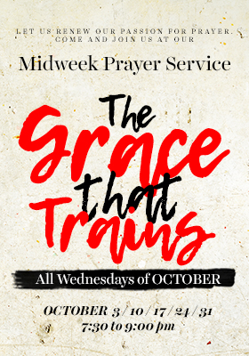 Higher Rock Christian Church Midweek Poster for October 2018 - The Grace that Trains