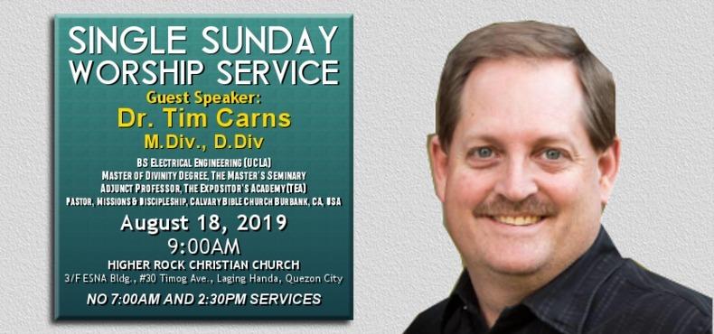 higher rock christian church announcements single worship service Pastor Tim Carns 18 Aug 2019